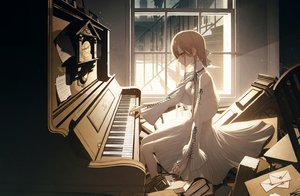 Rating: Safe Score: 44 Tags: book breasts brown_eyes brown_hair building city cleavage dress instrument long_hair original paper piano stairs wanke User: RyuZU