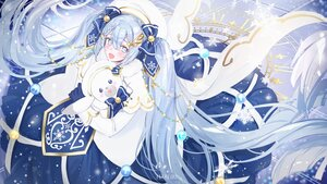 Rating: Safe Score: 40 Tags: blue_eyes blue_hair blush bow braids bunny cape dress gloves hatsune_miku long_hair mullpull snow twintails vocaloid watermark yuki_miku yukine_(vocaloid) User: otaku_emmy