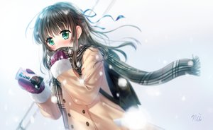 Rating: Safe Score: 21 Tags: ainili brown_hair drink gloves green_eyes long_hair original ribbons scarf signed snow winter User: C4R10Z123GT
