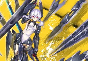 Rating: Safe Score: 200 Tags: gray_hair long_hair mechagirl nidy-2d- original red_eyes twintails weapon User: Maboroshi