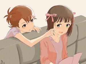 Rating: Safe Score: 48 Tags: 2girls amami_haruka blush book bow brown_hair futami_ami idolmaster neji_(nezi_hs) ribbons short_hair shoujo_ai signed User: Flandre93