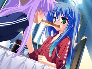 Rating: Safe Score: 29 Tags: 2girls food hiiragi_kagami izumi_konata lucky_star third-party_edit User: Oyashiro-sama