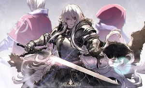 Rating: Safe Score: 38 Tags: armor brown_eyes cape gloves hoodie long_hair male original pixiv_fantasia pointed_ears ryuuzaki_ichi sword weapon white_hair User: ssagwp