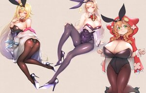 Rating: Safe Score: 62 Tags: animal_ears ass bicolored_eyes blonde_hair braids brown_hair bunny_ears bunnygirl cropped furen_e_lustario green_eyes headband hoodie hoshikawa_sara long_hair nijisanji pantyhose ponytail purple_eyes red_eyes scan sketch tail twintails uekusa warabeda_meijii yellow_eyes User: BattlequeenYume