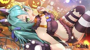 Rating: Safe Score: 43 Tags: animal_ears aqua_hair bell candy gloves green_eyes halloween logo lollipop navel pumpkin shorts thighhighs twintails yushima User: BattlequeenYume