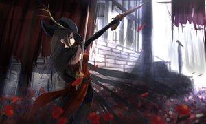 Rating: Safe Score: 236 Tags: black_hair elbow_gloves flowers gloves gun hat kikivi long_hair original pantyhose petals skirt sword weapon User: opai