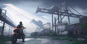 Rating: Safe Score: 40 Tags: clouds gan-viking industrial motorcycle original ruins scenic sky User: mattiasc02