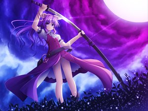 Rating: Safe Score: 38 Tags: akashio long_hair moon purple_hair sword touhou watatsuki_no_yorihime weapon User: Tensa