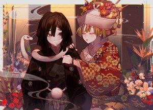 Rating: Safe Score: 27 Tags: animal bicolored_eyes iguro_obanai japanese_clothes kanroji_mitsuri kawacy kimetsu_no_yaiba kimono male snake wedding_attire User: FormX