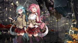 Rating: Safe Score: 33 Tags: 2girls bodhi_wushushenghua building choker fireworks garter glasses headphones honkai_impact liliya_olenyeva long_hair pink_hair ponytail purple_eyes rain rozaliya_olenyeva school_uniform sky umbrella water User: BattlequeenYume