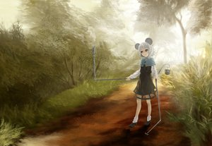 Rating: Safe Score: 31 Tags: akaikitsune animal_ears dress forest nazrin touhou tree User: opai