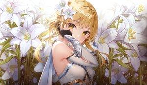Rating: Safe Score: 200 Tags: armor blonde_hair blush flowers genshin_impact gloves lumine_(genshin_impact) lunacle yellow_eyes User: BattlequeenYume