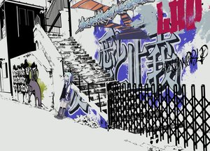 Rating: Safe Score: 29 Tags: blue_hair boots dress graffiti hoodie kneehighs original purple_eyes scenic short_hair stairs yamada_kei User: FormX