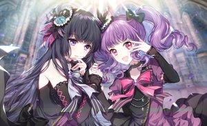 Rating: Safe Score: 64 Tags: 2girls bang_dream! black_hair bow choker dress long_hair n_n_(vbdpsep) petals pink_eyes purple_eyes purple_hair shirokane_rinko twintails udagawa_ako waifu2x User: otaku_emmy