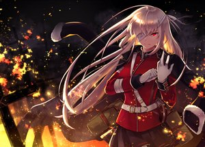 Rating: Safe Score: 99 Tags: bandage eyepatch fate/grand_order fate_(series) fire florence_nightingale gloves itsumi_mita long_hair military pink_hair red_eyes skirt User: otaku_emmy