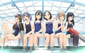 Rating: Safe Score: 37 Tags: anthropomorphism arashio_(kancolle) asashio_(kancolle) barefoot gahaku group kantai_collection kuroshio_(kancolle) michishio_(kancolle) ooshio_(kancolle) oyashio_(kancolle) school_swimsuit swimsuit thighhighs water User: FormX