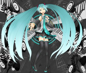 Rating: Safe Score: 36 Tags: aqua_eyes aqua_hair hatsune_miku long_hair niou_kaoru skirt thighhighs tie twintails vocaloid zettai_ryouiki User: HawthorneKitty