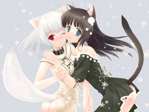 Rating: Safe Score: 159 Tags: 2girls animal_ears ass black_hair blue_eyes catgirl collar dress foxgirl photoshop red_eyes ribbons snow tail touto_seiro white_hair yuri User: kisumi