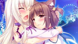 Rating: Safe Score: 75 Tags: 2girls animal_ears azuki_(sayori) blush brown_eyes brown_hair catgirl cat_smile city coconut_(sayori) collar crying game_cg hug long_hair nekopara night sayori short_hair tears white_hair User: ffbros
