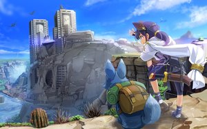 Rating: Safe Score: 83 Tags: animal animal_ears bike_shorts boots building cape dragon landscape original ponytail scenic shorts sword tail wapokichi water weapon User: Wiresetc