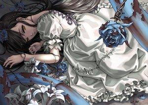 Rating: Questionable Score: 54 Tags: black_hair dress flowers original takekawa_shin yellow_eyes User: opai