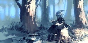Rating: Safe Score: 70 Tags: book eho_(icbm) forest short_hair tokiko touhou tree wings User: RyuZU