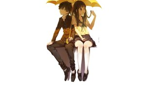 Rating: Safe Score: 42 Tags: black_hair chitanda_eru cici green_eyes hyouka kneehighs long_hair male oreki_houtarou purple_eyes school_uniform short_hair skirt umbrella white User: RyuZU