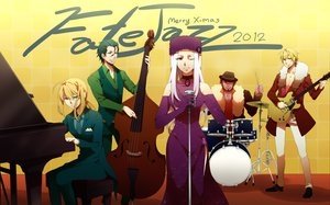 Rating: Safe Score: 32 Tags: blonde_hair christmas dress drums fate/extra fate/stay_night fate/zero gilgamesh group guitar hat instrument irisviel_von_einzbern microphone nashi_y piano saber suit tie white_hair wink zero_lancer zero_rider User: Tensa