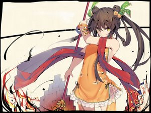 Rating: Safe Score: 66 Tags: black_hair dress long_hair sennen_sensou_aigis tagme_(artist) weapon yellow_eyes User: luckyluna