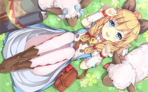 Rating: Safe Score: 198 Tags: animal animal_ears blonde_hair blue_eyes blush boots cat_smile grass monster_hunter pantyhose pointed_ears rin_yuu sheep User: Flandre93