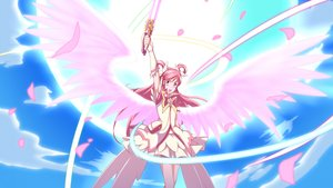 Rating: Safe Score: 9 Tags: bow clouds cure_dream dress jabara_tornado long_hair petals pink_eyes pink_hair precure sky wings yes!_precure_5 yes!_precure_5_gogo! yumehara_nozomi User: RyuZU