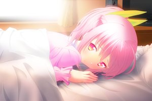 Rating: Safe Score: 39 Tags: bed game_cg pink_eyes pink_hair short_hair touhikou_game yasuyuki User: Precursor
