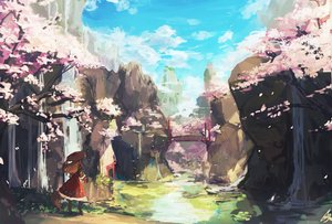 Rating: Safe Score: 72 Tags: brown_hair cherry_blossoms clouds dress hat landscape lansane long_hair original scenic signed sky tail tree water waterfall User: BattlequeenYume