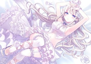 Rating: Safe Score: 76 Tags: bow dress flowers kashiwabara_en lolita_fashion long_hair navel original polychromatic purple_eyes rose skirt white_hair wristwear User: BattlequeenYume