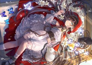 Rating: Safe Score: 84 Tags: animal animal_ears bell blush brown_hair bubbles butterfly cape chain corset dress flowers green_eyes hoodie itsia lolita_fashion long_hair original rabbit User: BattlequeenYume