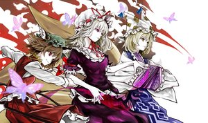 Rating: Safe Score: 64 Tags: animal_ears blonde_hair brown_hair butterfly catgirl chen foxgirl hat japanese_clothes multiple_tails red_eyes skirt tail touhou yakumo_ran yakumo_yukari yutapon User: Flandre93