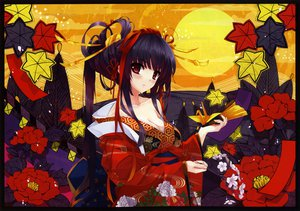 Rating: Safe Score: 187 Tags: breasts cleavage flowers japanese_clothes kimono long_hair misaki_kurehito original red_eyes scan User: opai