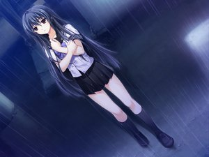 Rating: Safe Score: 124 Tags: alpha black_hair brown_eyes game_cg kneehighs kourin_no_machi_lavender_no_shoujo long_hair rain sakuragi_hikaru seifuku wet User: Katsumi
