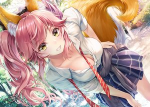 Rating: Safe Score: 281 Tags: animal_ears breasts cleavage fate/grand_order fate_(series) foxgirl jpeg_artifacts long_hair paintmusume pink_hair school_uniform shirt skirt tail tamamo_no_mae_(fate) tie tree twintails watermark yellow_eyes User: BattlequeenYume