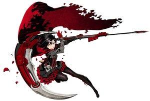 Rating: Safe Score: 85 Tags: black_hair boots cape gloves miwa_shirow pantyhose petals ruby_rose rwby scythe short_hair weapon white User: RyuZU
