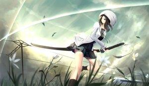 Rating: Safe Score: 201 Tags: black_hair blue_eyes flowers grass hat katana kikivi leaves original skirt sky socks sword train weapon User: FormX
