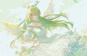 Rating: Safe Score: 29 Tags: angel dress flowers green_hair halo long_hair original polychromatic rose tagme_(artist) wings User: BattlequeenYume