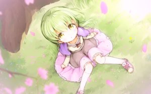 Rating: Safe Score: 2 Tags: cape cherry_blossoms flowers grass green_hair kankokoa kneehighs loli long_hair original petals skirt yellow_eyes User: otaku_emmy