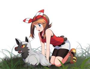Rating: Safe Score: 11 Tags: aqua_eyes bike_shorts brown_hair grass haruka_(pokemon) headband pokemon poochyena shorts white yuihiko User: gnarf1975