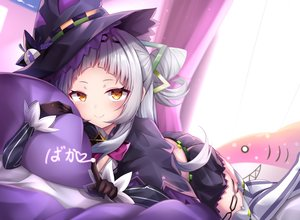 Rating: Safe Score: 50 Tags: bed blush gloves gray_hair hat hololive long_hair murasaki_shion shiki_(catbox230123) skirt witch_hat yellow_eyes User: BattlequeenYume