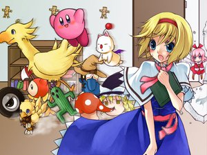 Rating: Safe Score: 40 Tags: alice_margatroid blonde_hair blue_eyes book cactuar chocobo crossover final_fantasy final_fantasy_ix kirby kirby_(character) monmon moogle ribbon_(kirby) ribbons short_hair touhou vivi_orunitia waddle_dee wheelie yukkuri_shiteitte_ne User: Xtea