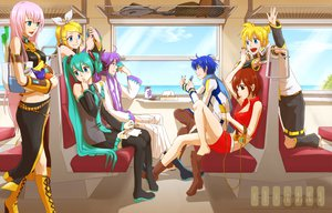 Rating: Safe Score: 74 Tags: group hatsune_miku kagamine_len kagamine_rin kaito megurine_luka meiko train vocaloid User: HawthorneKitty
