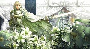 Rating: Safe Score: 90 Tags: blonde_hair flowers male original saizo sword weapon User: HawthorneKitty