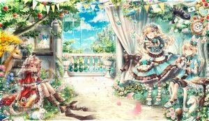 Rating: Safe Score: 90 Tags: alice_in_wonderland animal animal_ears apple bicolored_eyes blonde_hair book bow building butterfly cake cat cheshire_cat clouds crown dress drink flowers food fruit grass hat headband headdress lolita_fashion long_hair male mirror original pantyhose petals rabbit red_eyes rose short_hair sky tree water white_rabbit yumeichigo_alice User: FormX