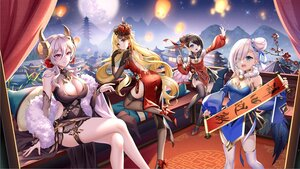 Rating: Safe Score: 60 Tags: aliasing blonde_hair breasts building chinese_clothes chinese_dress cleavage dress gray_hair horns long_hair sky thighhighs yue_xiao_e zettai_ryouiki User: BattlequeenYume